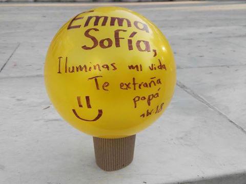 Pelota dedicada a Emma Sofía en la marcha de 1000Pelotasparati